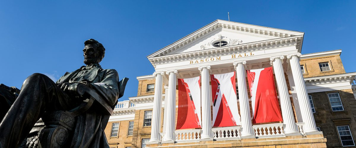 Lincoln Statue with Bascom Hall in background