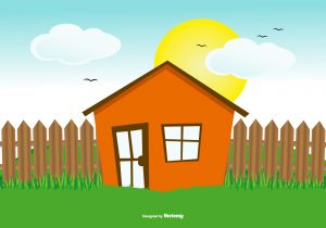 Small orange house with brown picket fence in background