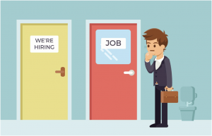 """person with a briefcase looking at a yellow door that says """"We're Hiring"""" and a red door that says """"Job"""""""