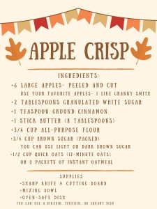 Apple Crisp ingredients and supplies